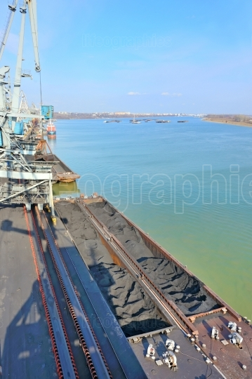 Coal in harbor on danube river