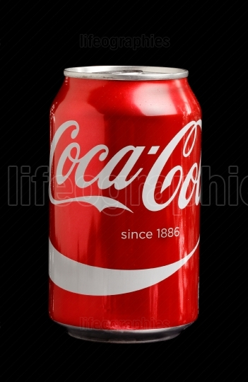Coca Cola can on black