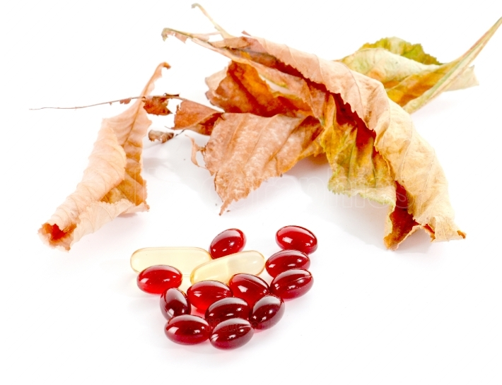 Cod liver oil omega 3 gel capsules and autumn leaves on white background