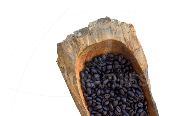Coffee beans in a wooden bowls