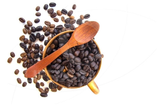 Coffee beans isolated in background