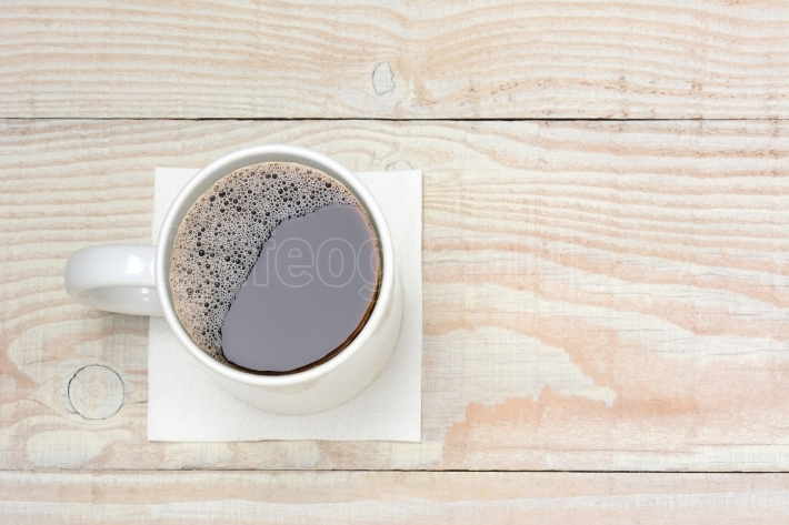 Coffee Cup on White Wood Table