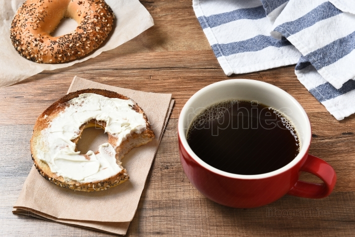 Coffee Mug and Bagel