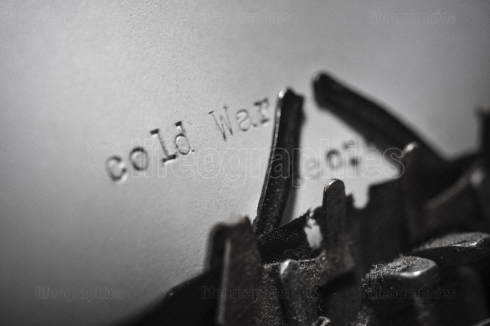 Cold war typed words on a Vintage Typewriter