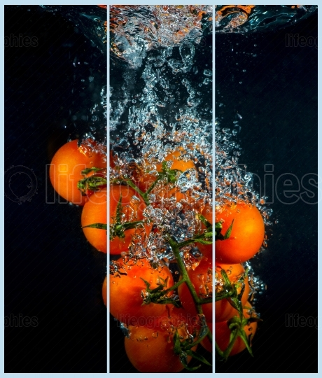 Collage concept with one single photo of a cherry tomato