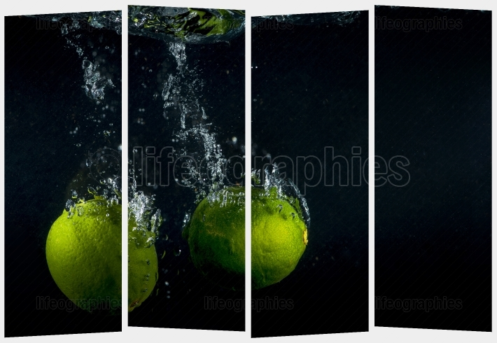Collage concept with one single photo of a lime fruit