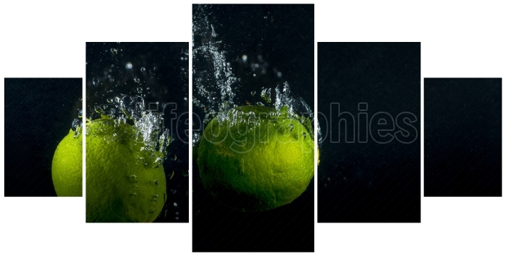 Collage concept with one single photo of a Lime fruits