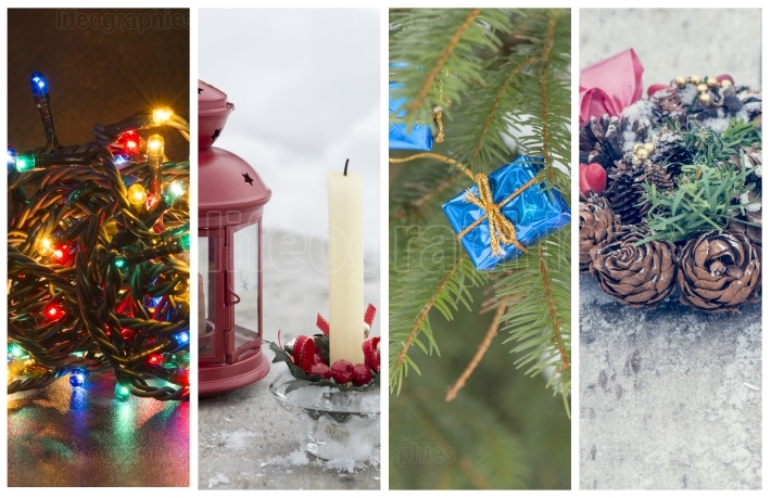 Collage of several photos with the christmas holidays theme