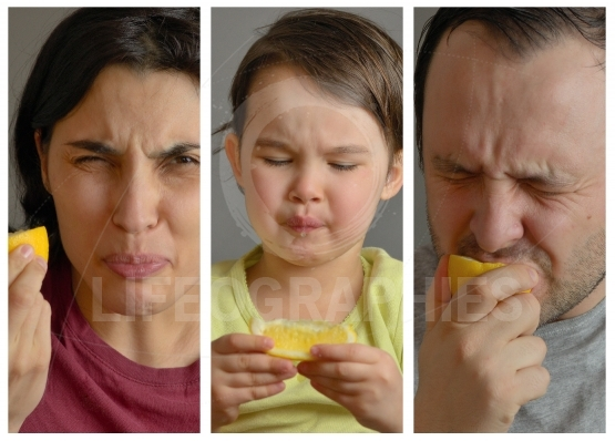 Collage with family eating lemon and making faces