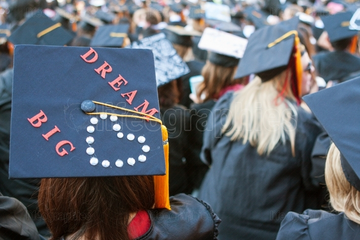 College Graduate Wears Mortar Board With Message To Dream Big