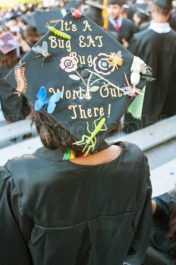 College Graduate Wears Mortarboard With Funny Message
