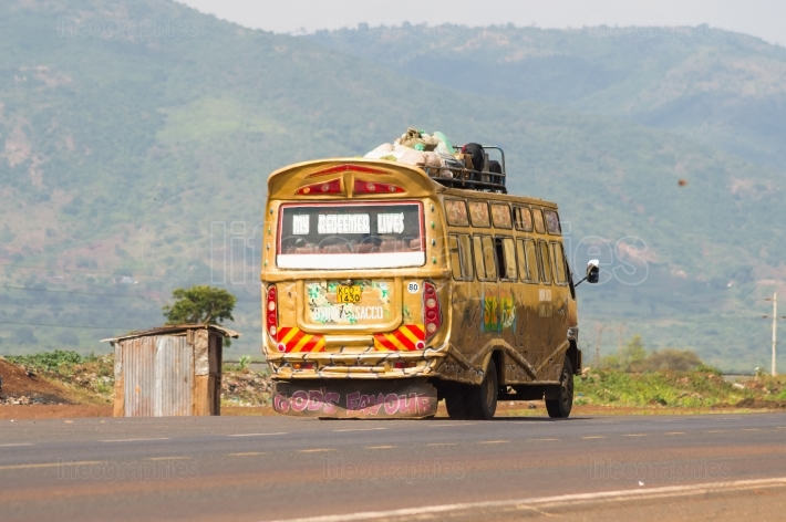 Colorful bus of several motifs in Kenya s countryside in Africa