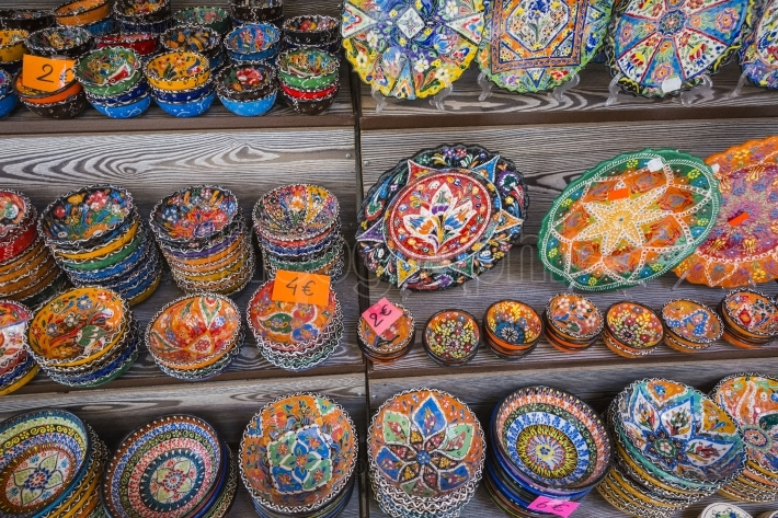 Colorful ceramic souvenirs for sale on the street in old town mo