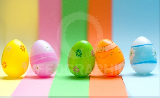 Colorful Easter eggs on colorful background