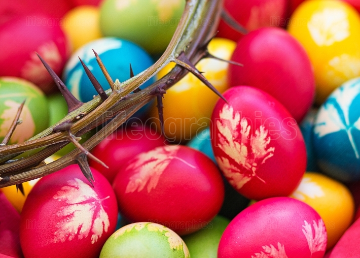 Colorful easter eggs with crown of thorns
