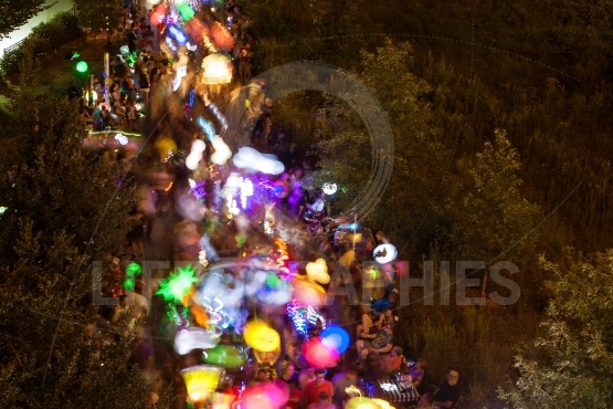 Colorful Lanterns Motion Blur As Hundreds Walk In Night Parade