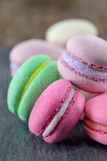 Colorful macaroons on ardesia