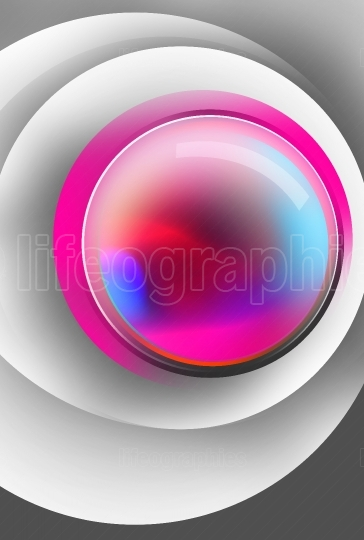Colorful magic ball inside white circle surfaces