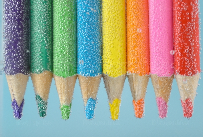 Colorful pencils close-up