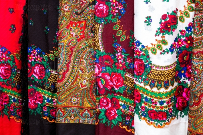 Colorful traditional scarves from Romania