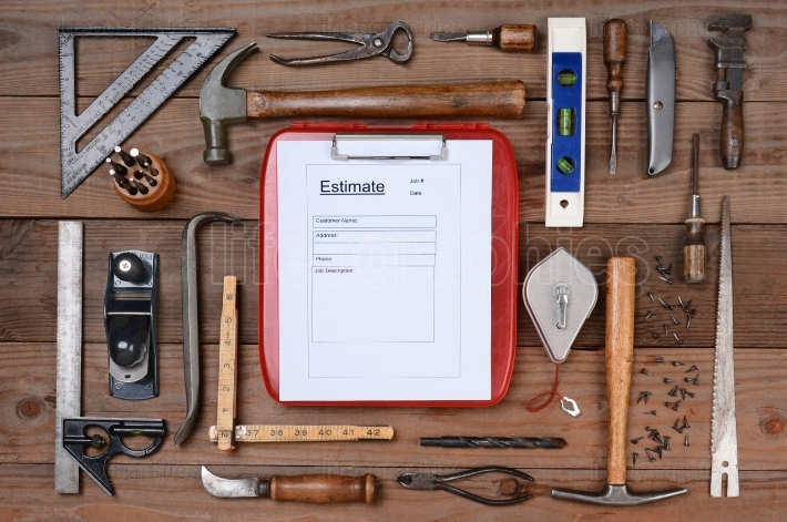 Contractors Estimate Form Surrounded By Tools