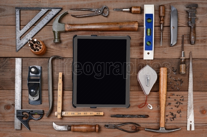 Contractors Tools with Tablet Computer