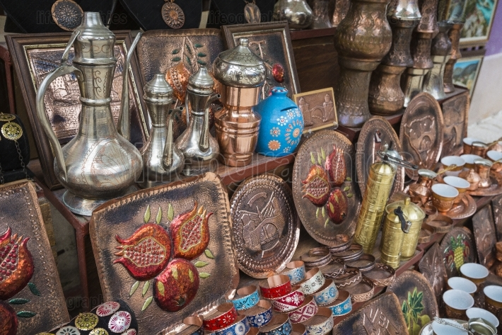 Copper product as souvenir for visitors and tourists in old town
