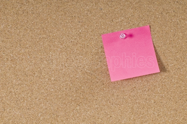 Cork board with pink  post note