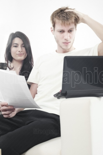 Couple on couch in living room