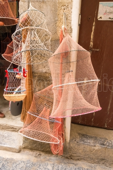 Crab fishing net of all sizes on the port of Cefalu