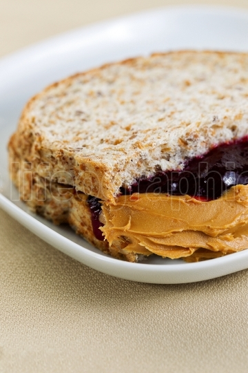 Creamy Peanut Butter and Jelly Sandwich