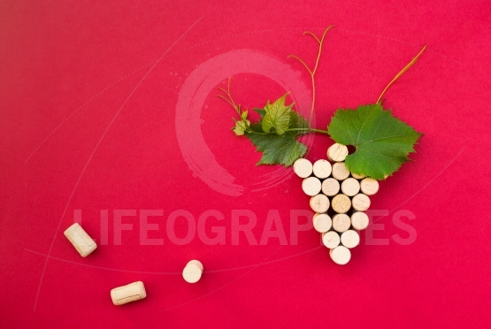 Creative bunch of grapes made of cork.Useful as  background for