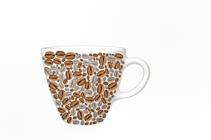 Cup of coffee made from beans