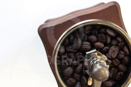 Cup with coffee beans isolated