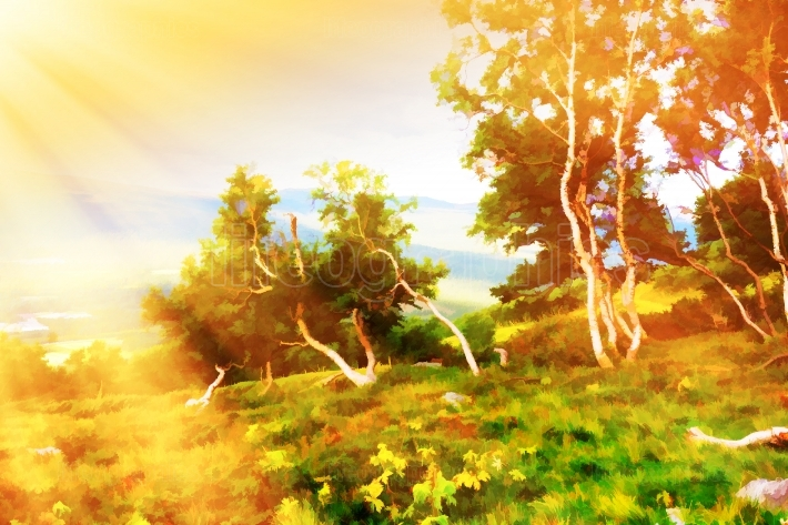 Curved mountain trees illustration background