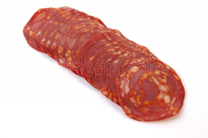 Cut slices of red iberian chorizo