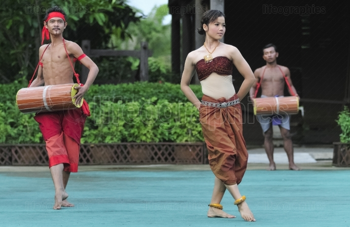 Dancers in traditional costume performing traditional Cambodian dance