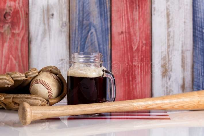 Dark beer and baseball stuff with faded wooden boards painted in