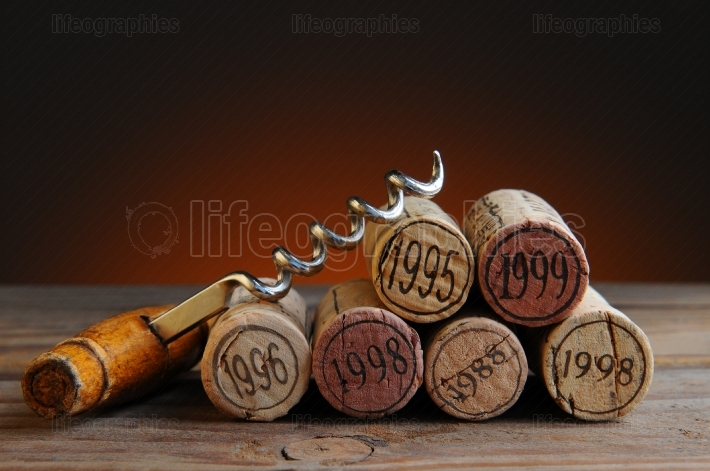 Dated Wine Corks and Corkscrew