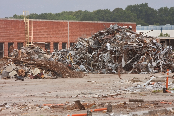 Debris Is Stacked High At Auto Assembly Plant Demolition Site