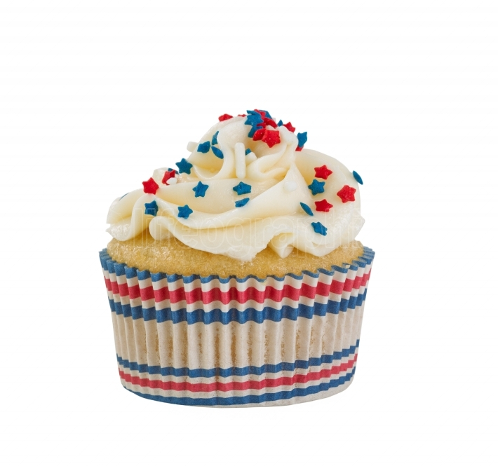 Decorative cupcake and wrapper for the Fourth of July on white b