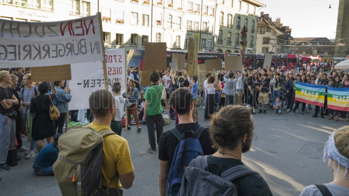 Demonstrations against Swiss arms sales. Bern, Switzerland