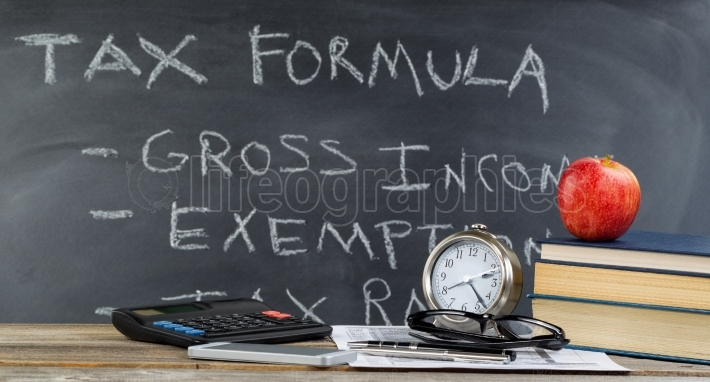 Desktop and chalkboard for learning how to do income taxes in cl