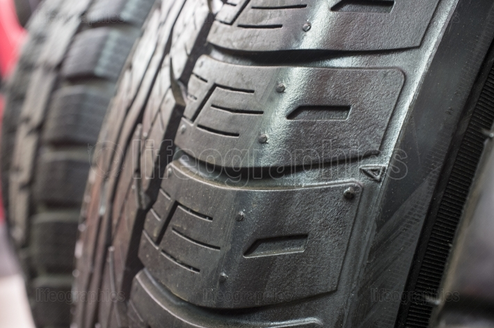 Detail of retread tyres, closeup