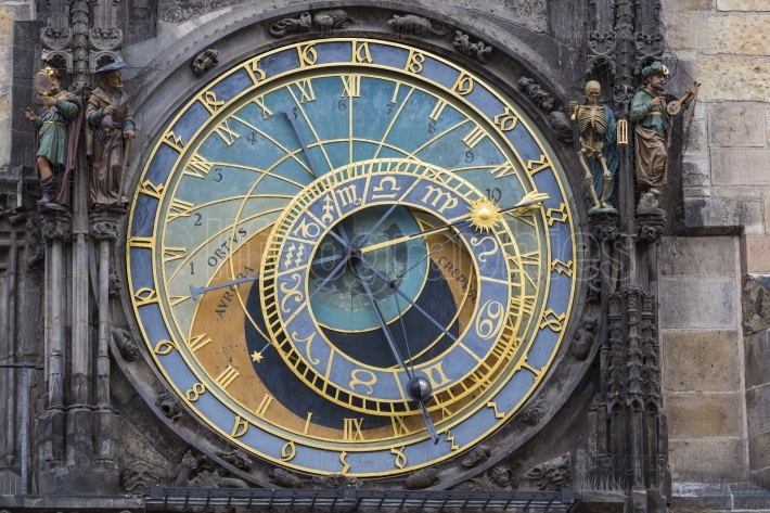 Detail of the Prague Astronomical Clock (Orloj) in the Old Town