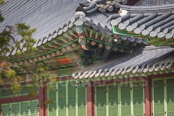 Detail of Traditional Korean Roof, Colourful Decorated Ornament