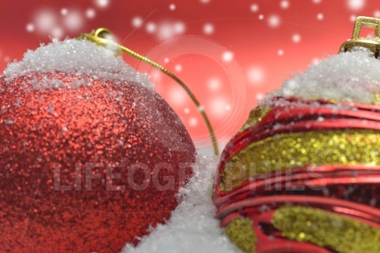 Details from a setup with colorful christmas globes