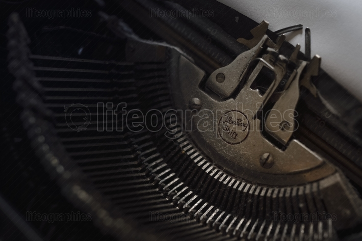 Details of old typewriter in rust and dust.Retro