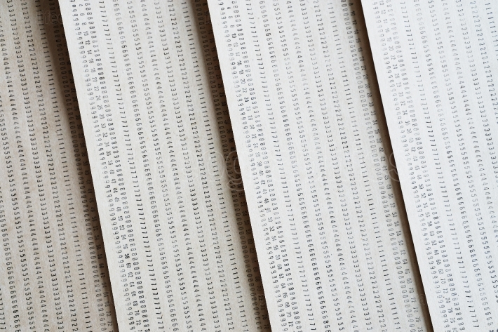 Diagonal vintage punched card textured background