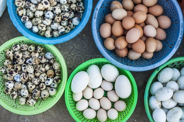Diferent types of eggs in a vietnamese market